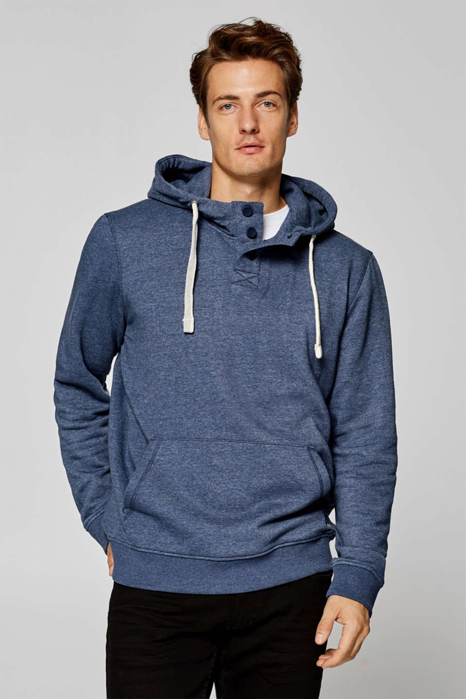 Esprit - Hoodie with a button placket, cotton blend