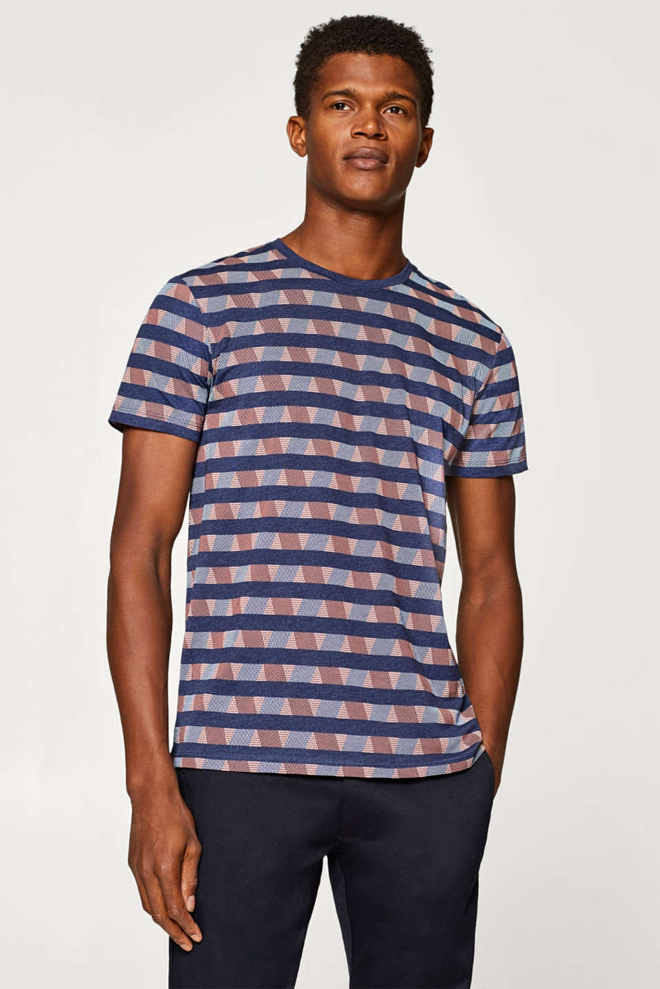 Esprit - Jersey top with an all-over print, made of blended cotton