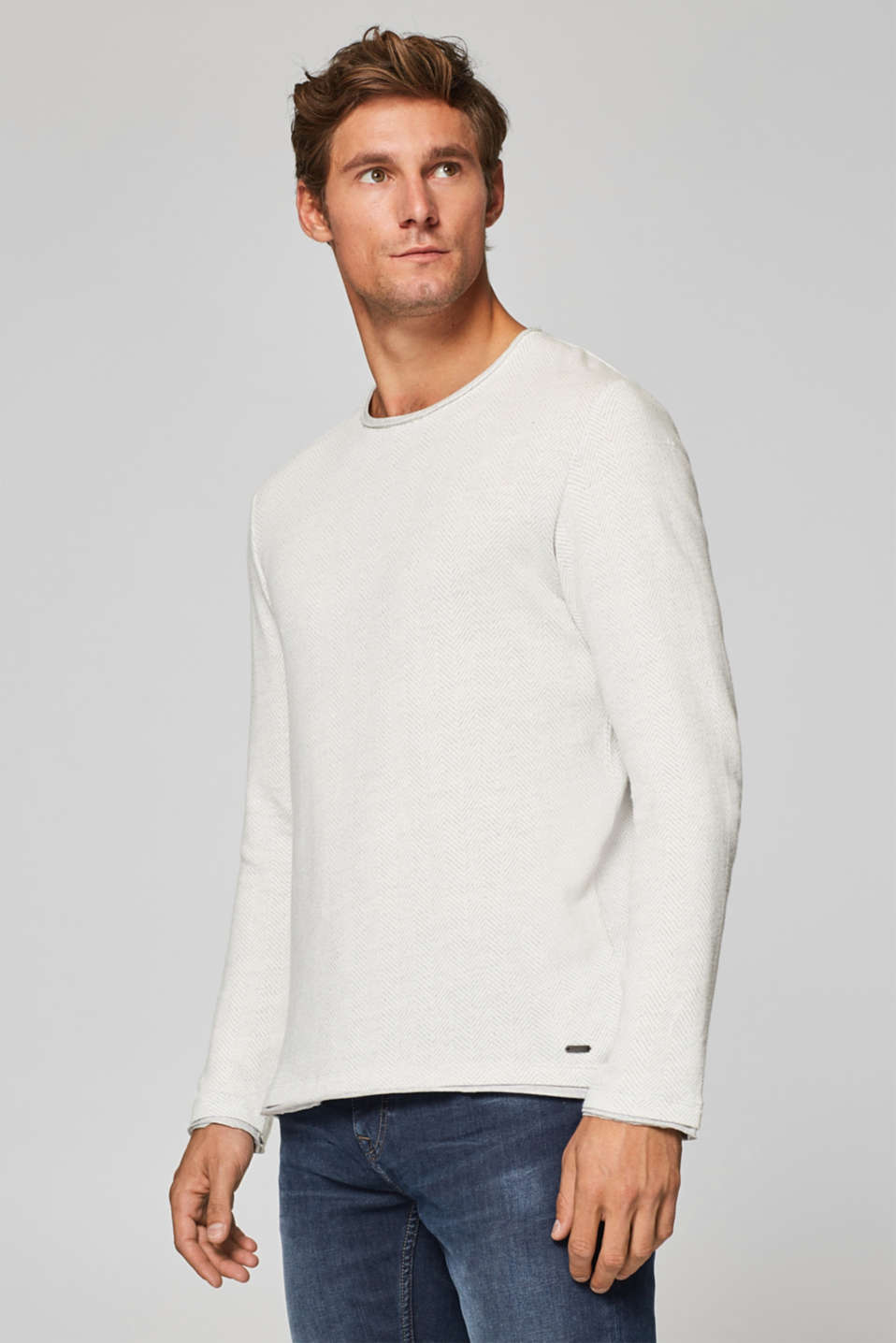 Esprit - Jersey long sleeve top with a herringbone pattern