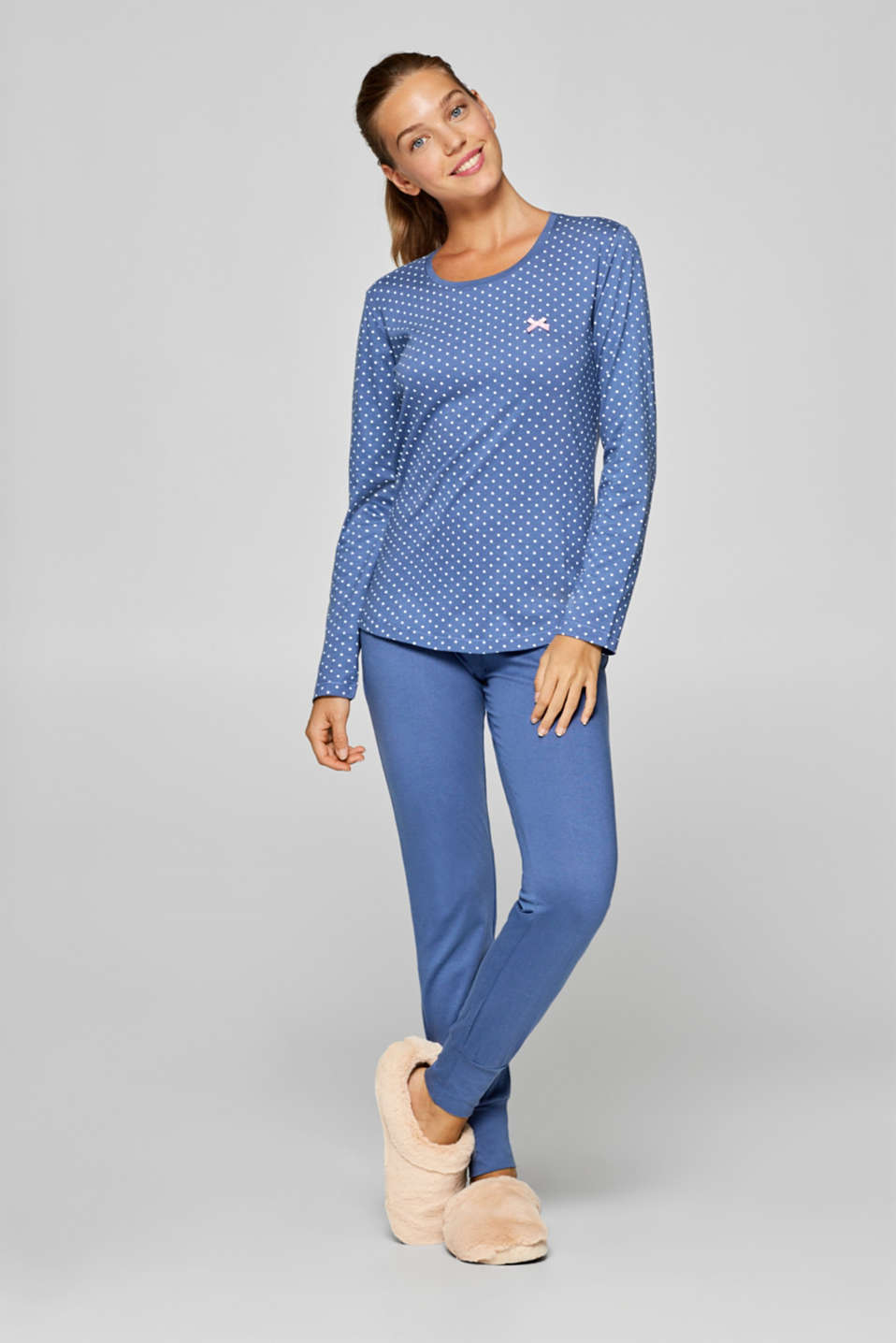 Esprit - Polka dot print pyjamas, 100% cotton