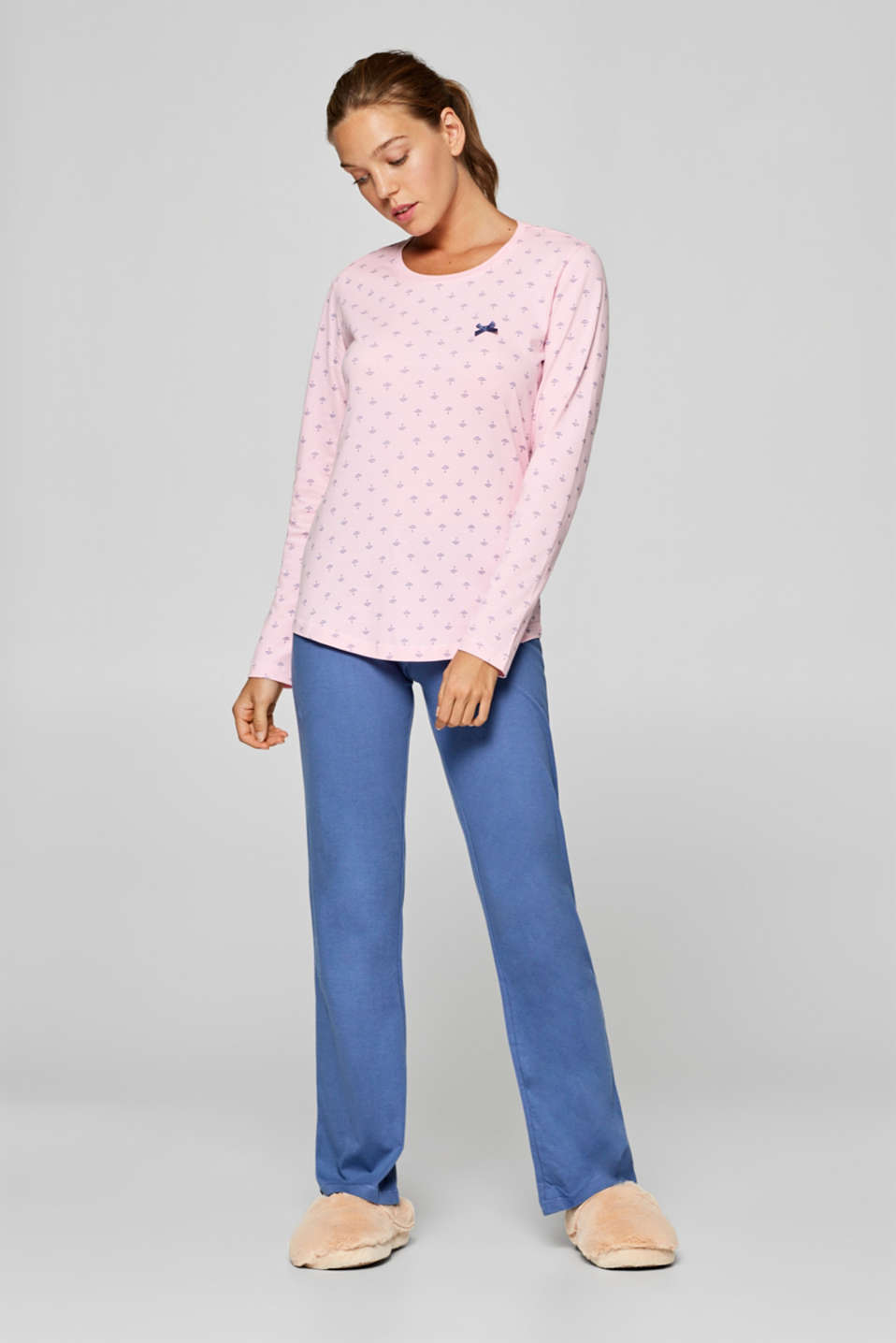 Esprit - Pyjamas with an umbrella print, 100% cotton