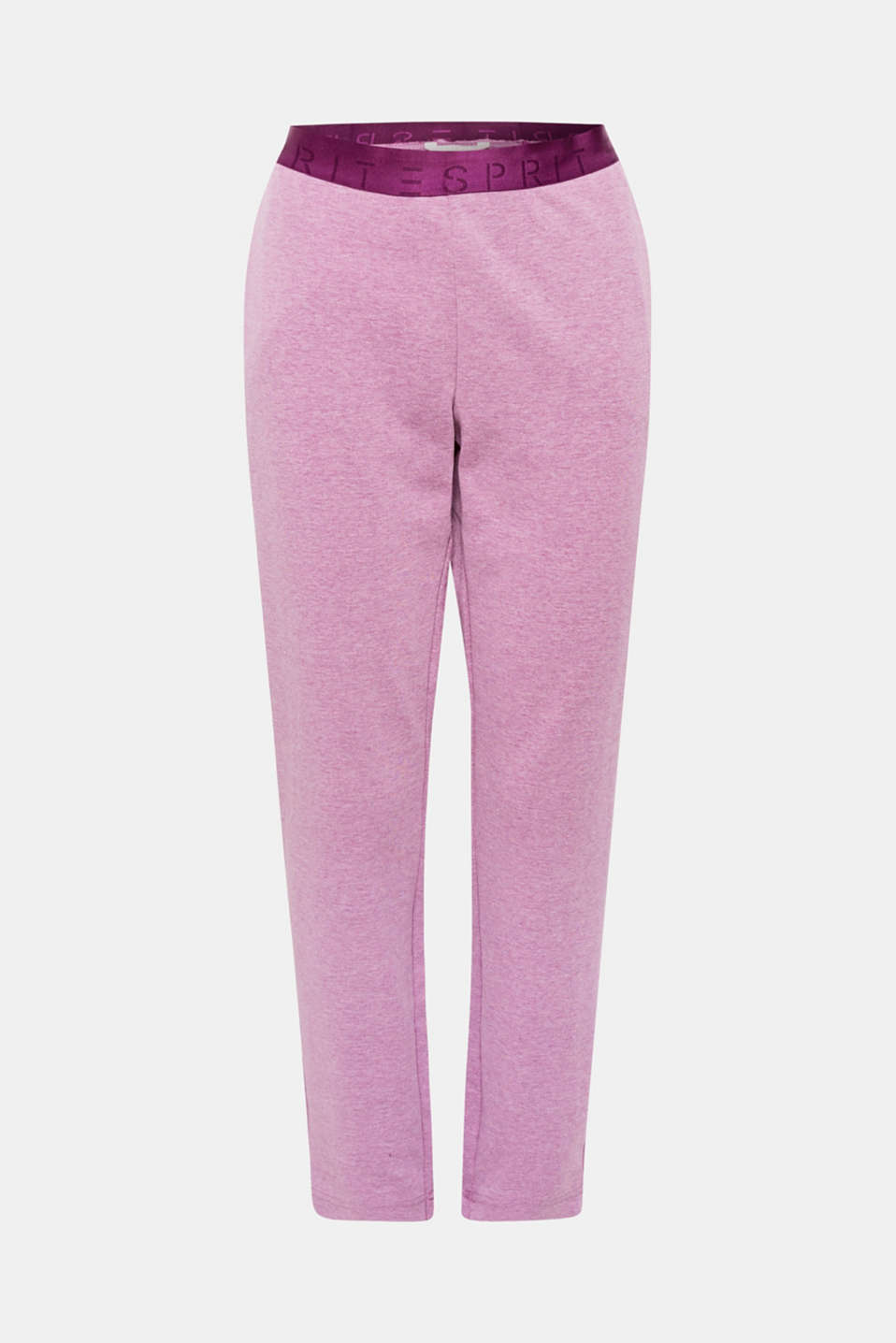 The attached, softly shimmering logo waistband and fashionable melange finish make these jersey tracksuit bottoms casual and trendy at the same time!