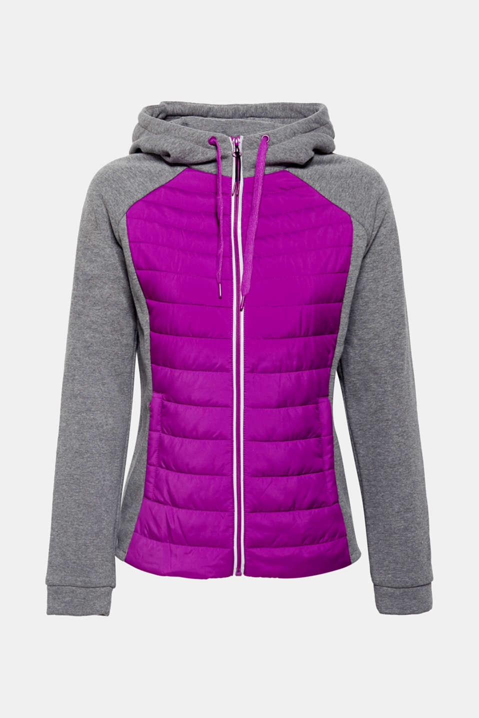 Dense jersey meets quilted, padded nylon – on this fitted jacket with a hood and reflective zip. – Great for all sporty outdoor activities!