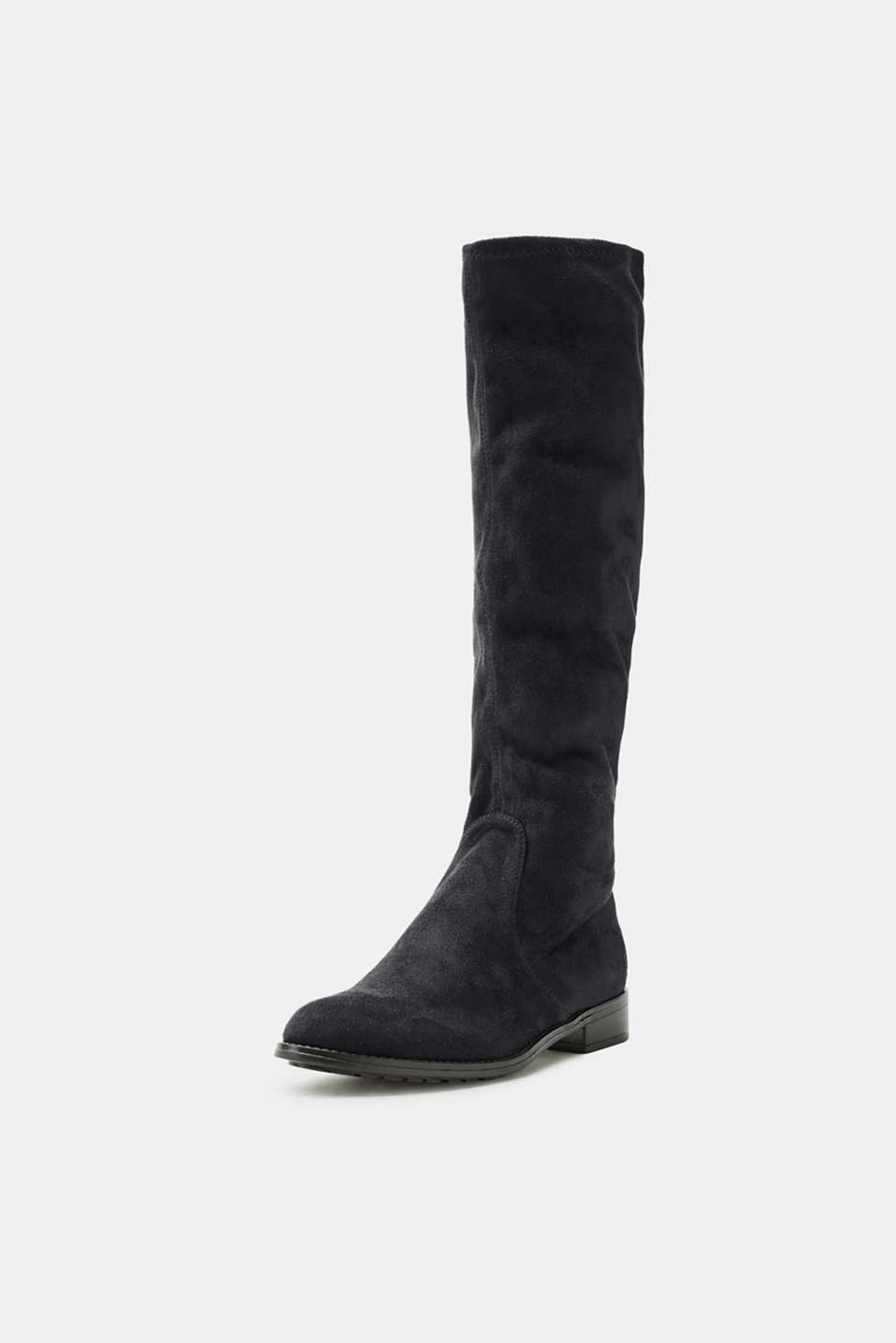 Stretch boot in faux suede