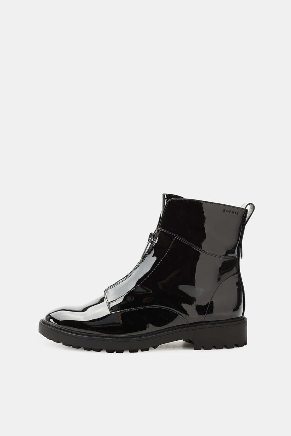 Esprit - Patent leather ankle boot with front zip