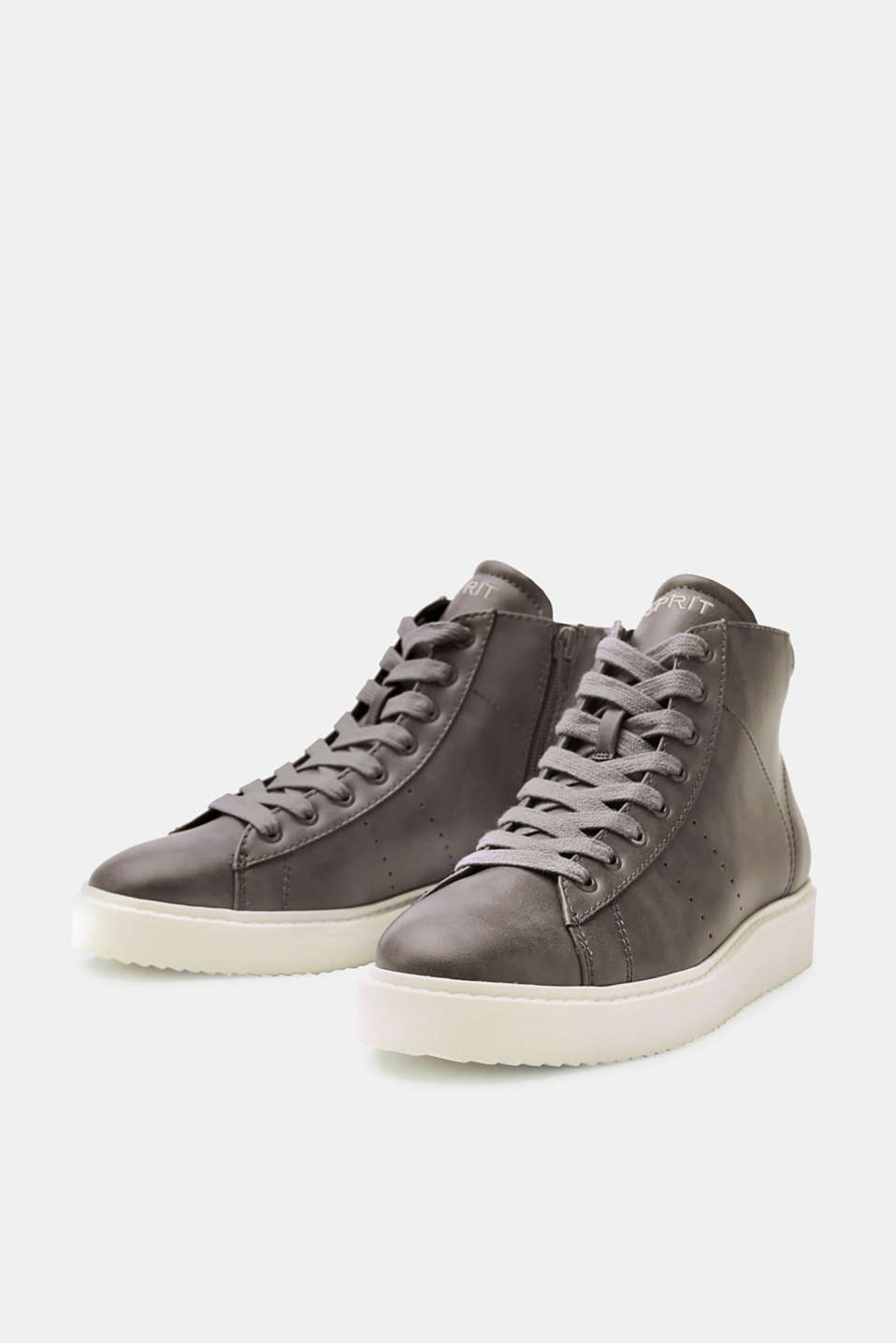 Faux leather high-top trainers