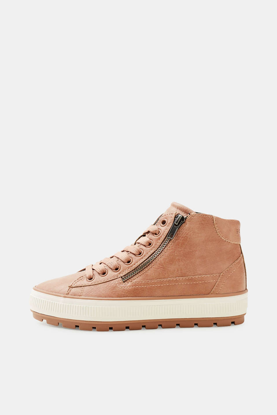 Esprit - Faux leather vegan high-top trainers