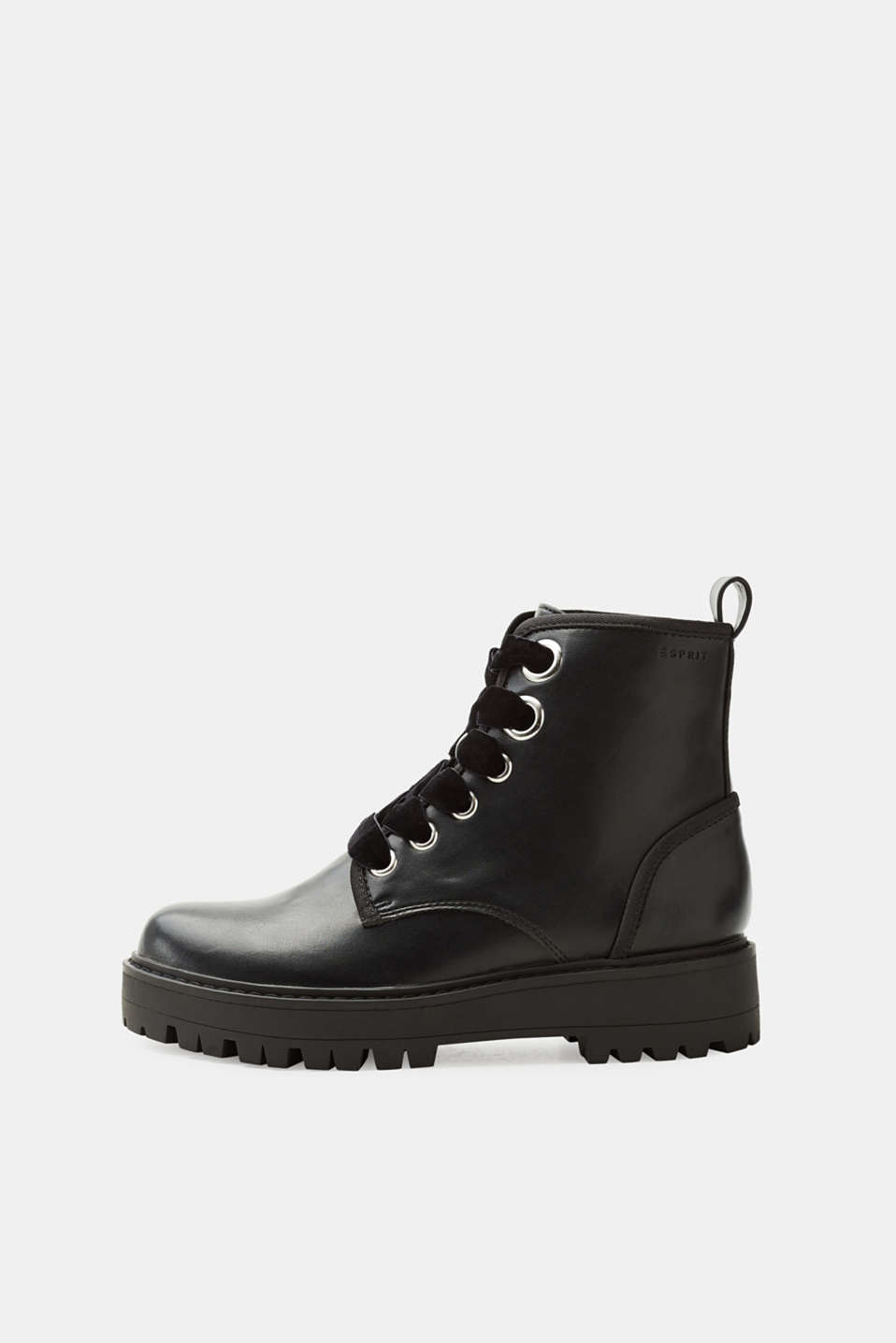 Esprit - Faux leather boots with velvet laces