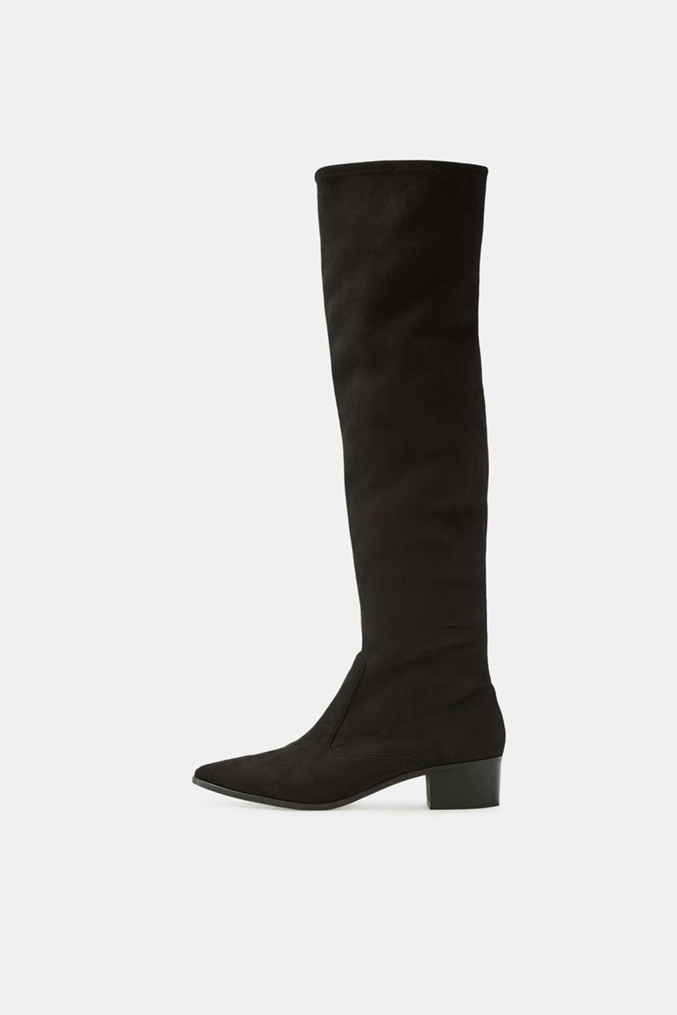 Esprit - Spitzer Stretchstiefel in Velours-Optik