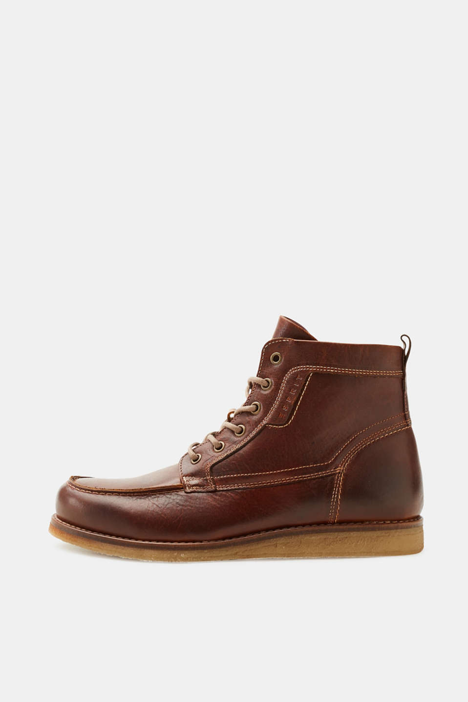 Esprit - Lace-up boots with crêpe sole, made of leather