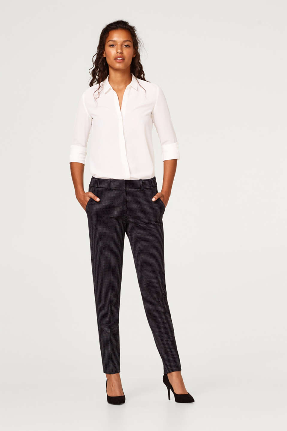 Esprit - JACQUARD mix + match stretch trousers