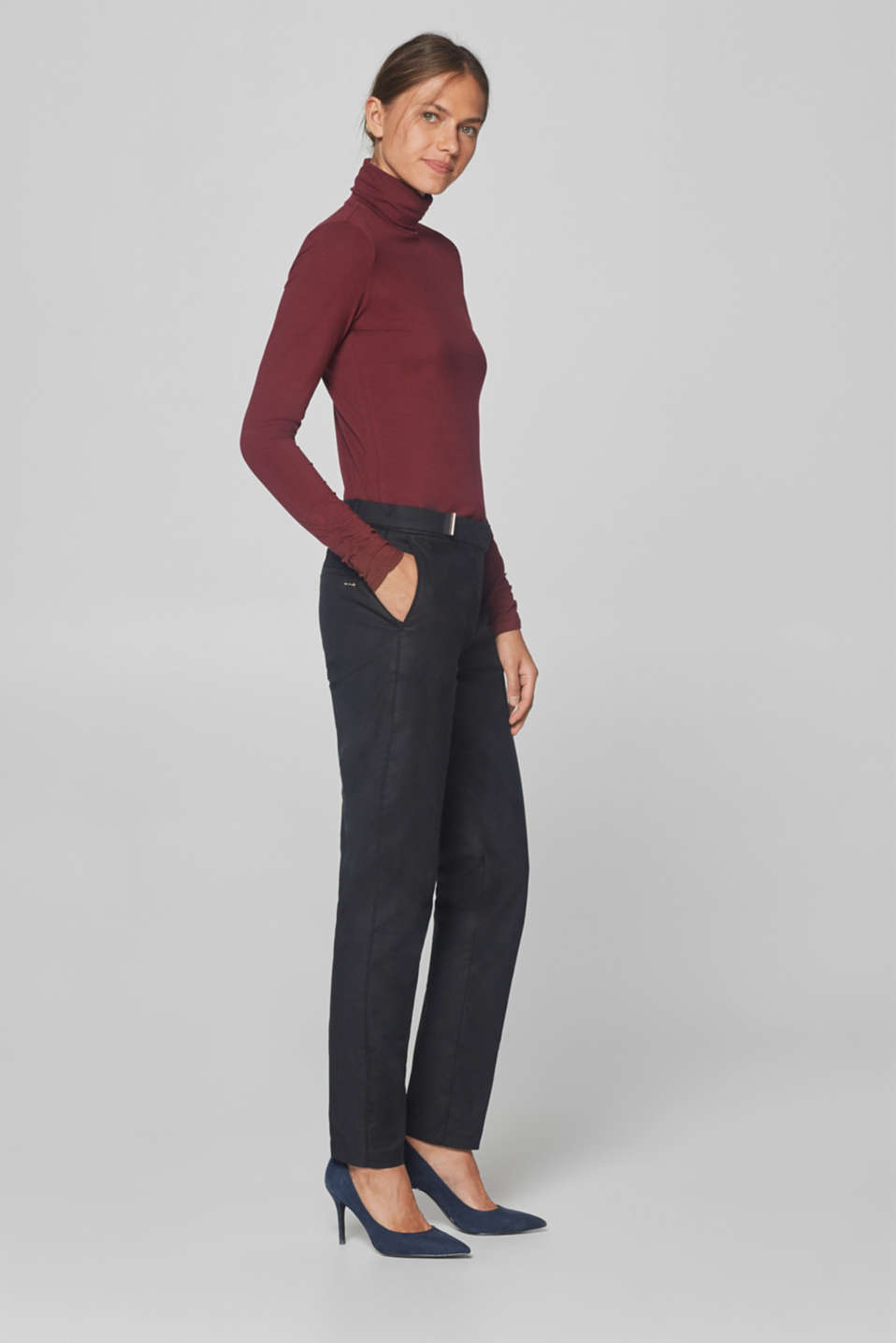 Esprit - Stretchy twill trousers with decorative straps