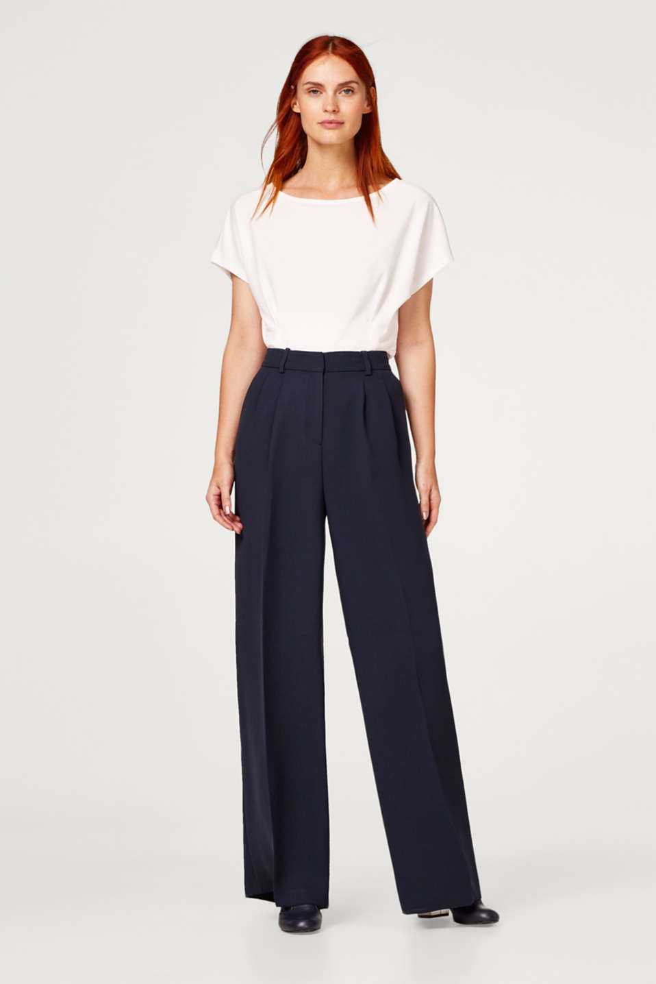 Esprit - Palazzo trousers with pressed pleats