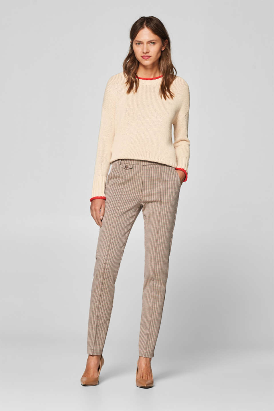 Esprit - Checked chinos in blended cotton