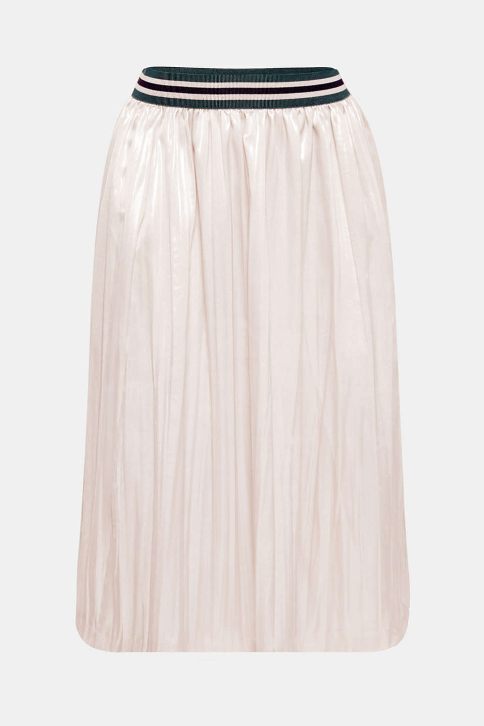 Gorgeously glittery! The stunning, shimmering metallic coating and striped, elasticated waistband give this midi skirt an extremely eye-catching, sporty twist.