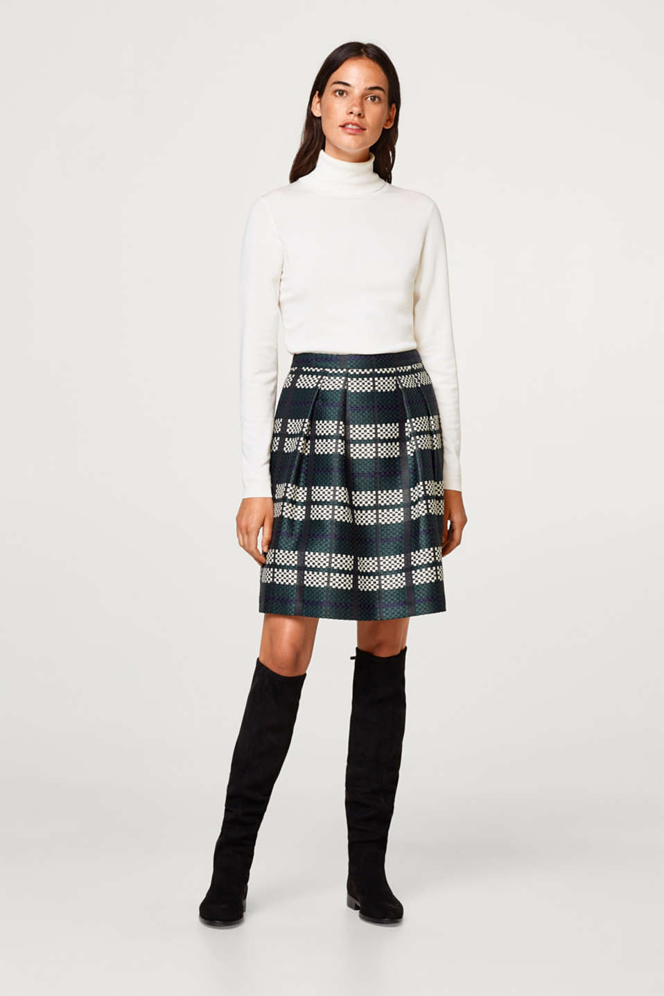 Esprit - Jacquard skirt with geometric pattern