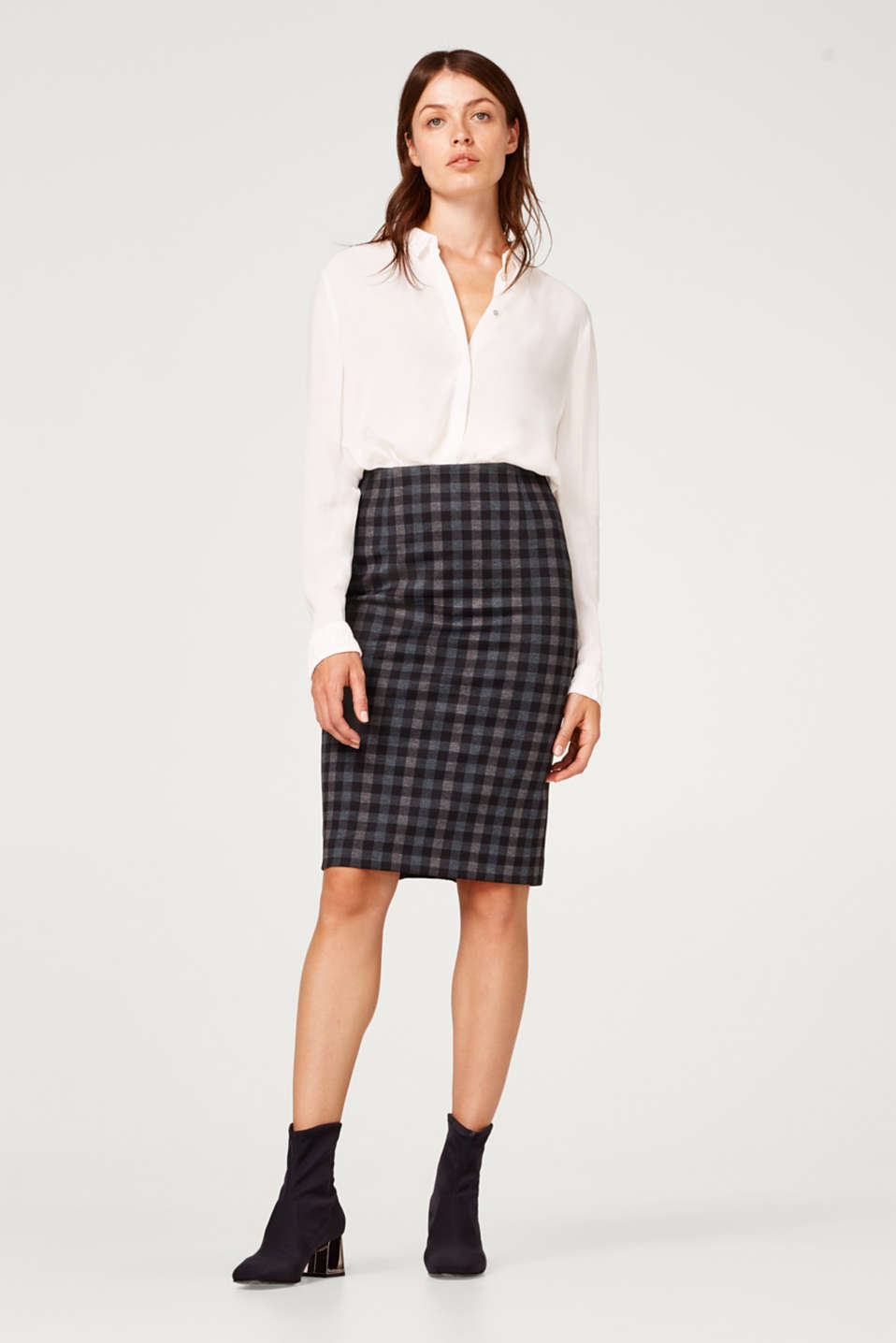 Esprit - Check pencil skirt with added stretch for comfort