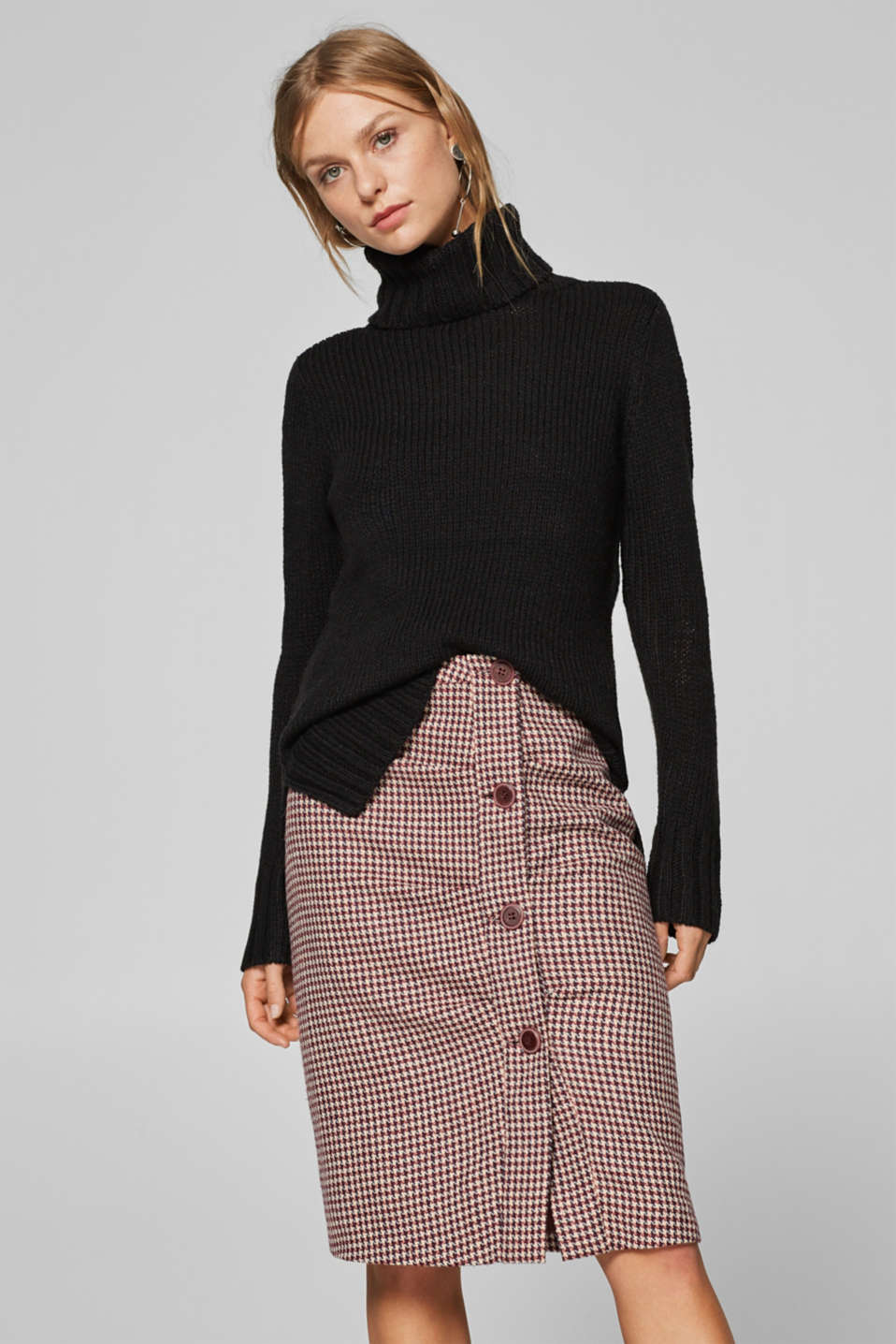 Esprit - Wool blend: pencil skirt with gathering