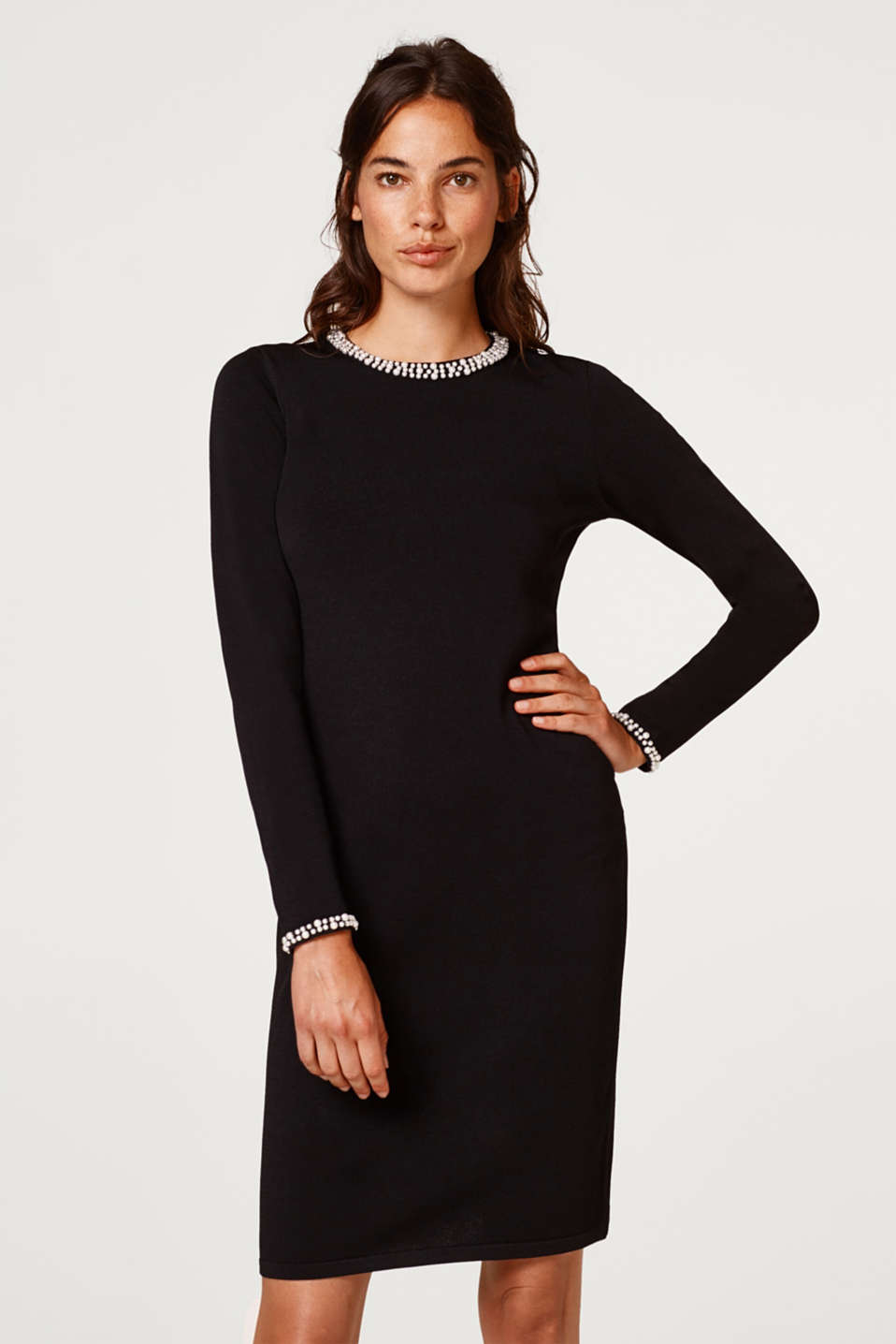Esprit - Bodycon knitted dress with decorative beads
