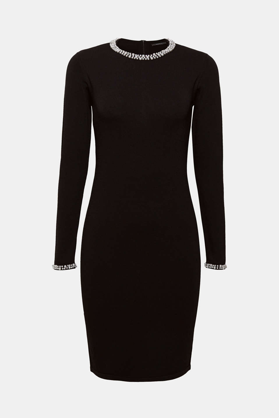This figure-enhancing, shaping knitted dress creates a beautiful silhouette and features decorative beads on the neckline and sleeve ends.