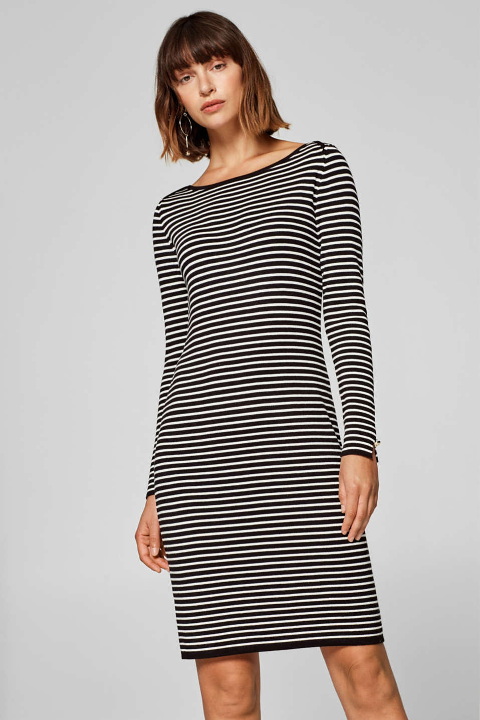Esprit - Basic dress made of fine, ribbed yarn