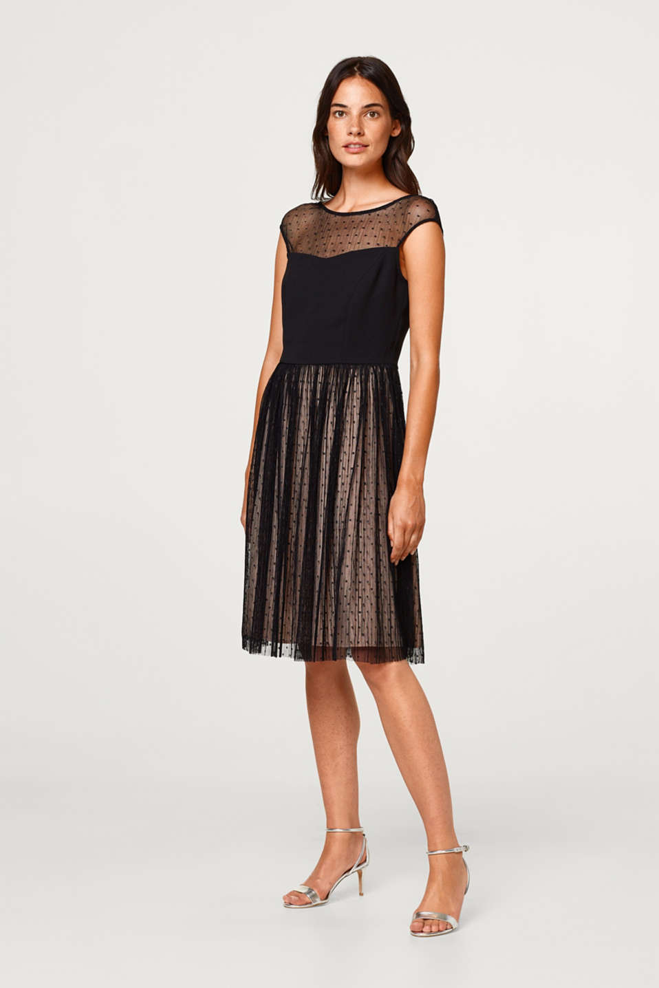 Esprit - Dress in pleated polka dot tulle