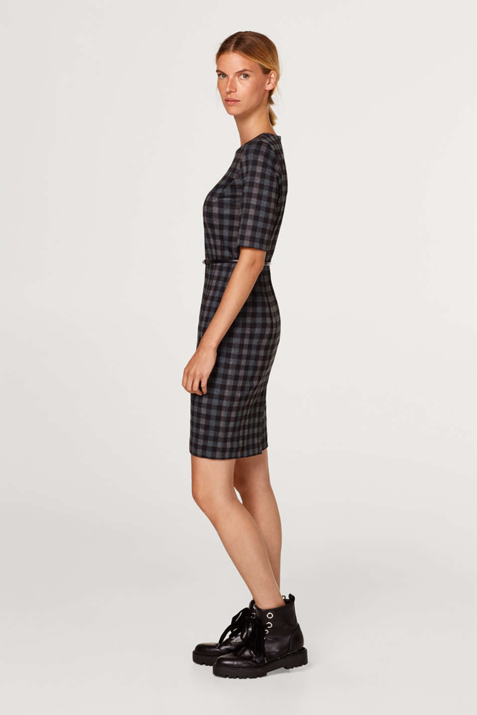 Check sheath dress with added stretch and belt