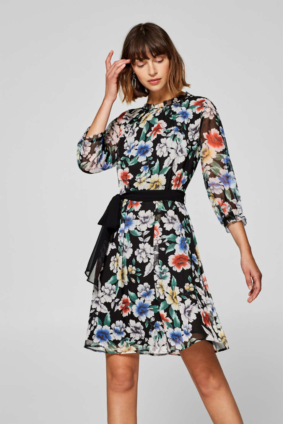 Esprit - Printed dress in textured chiffon