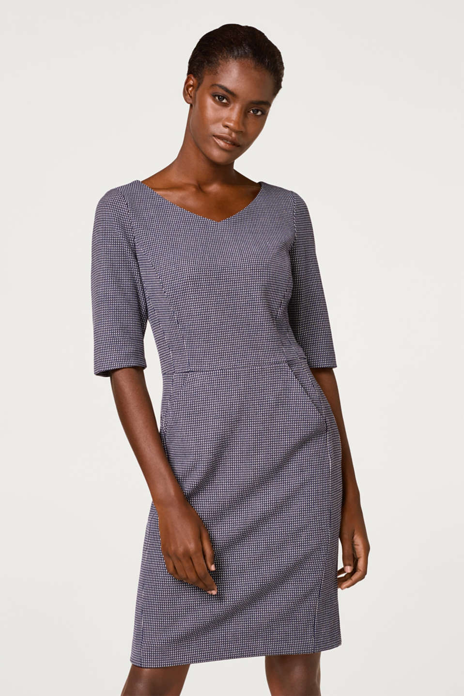 Esprit - Stretch dress with a jacquard pattern