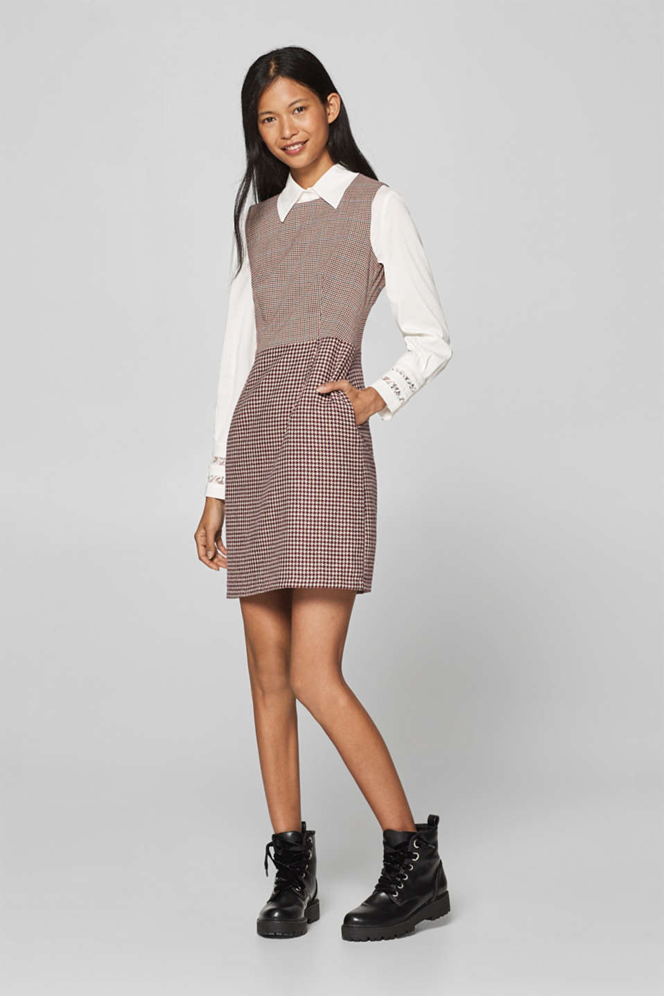 Esprit - Stretch dress with two different houndstooth patterns