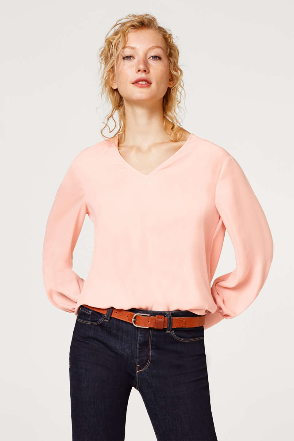Esprit - V-neck blouse with balloon sleeves
