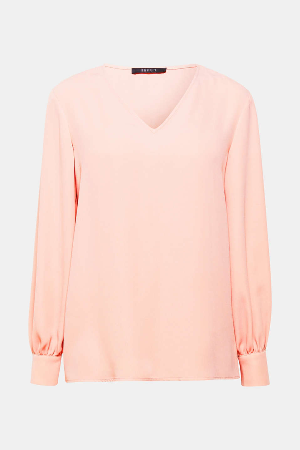 This floaty V-neck blouse with balloon sleeves in lots of trendy colours is extremely elegant and feminine.