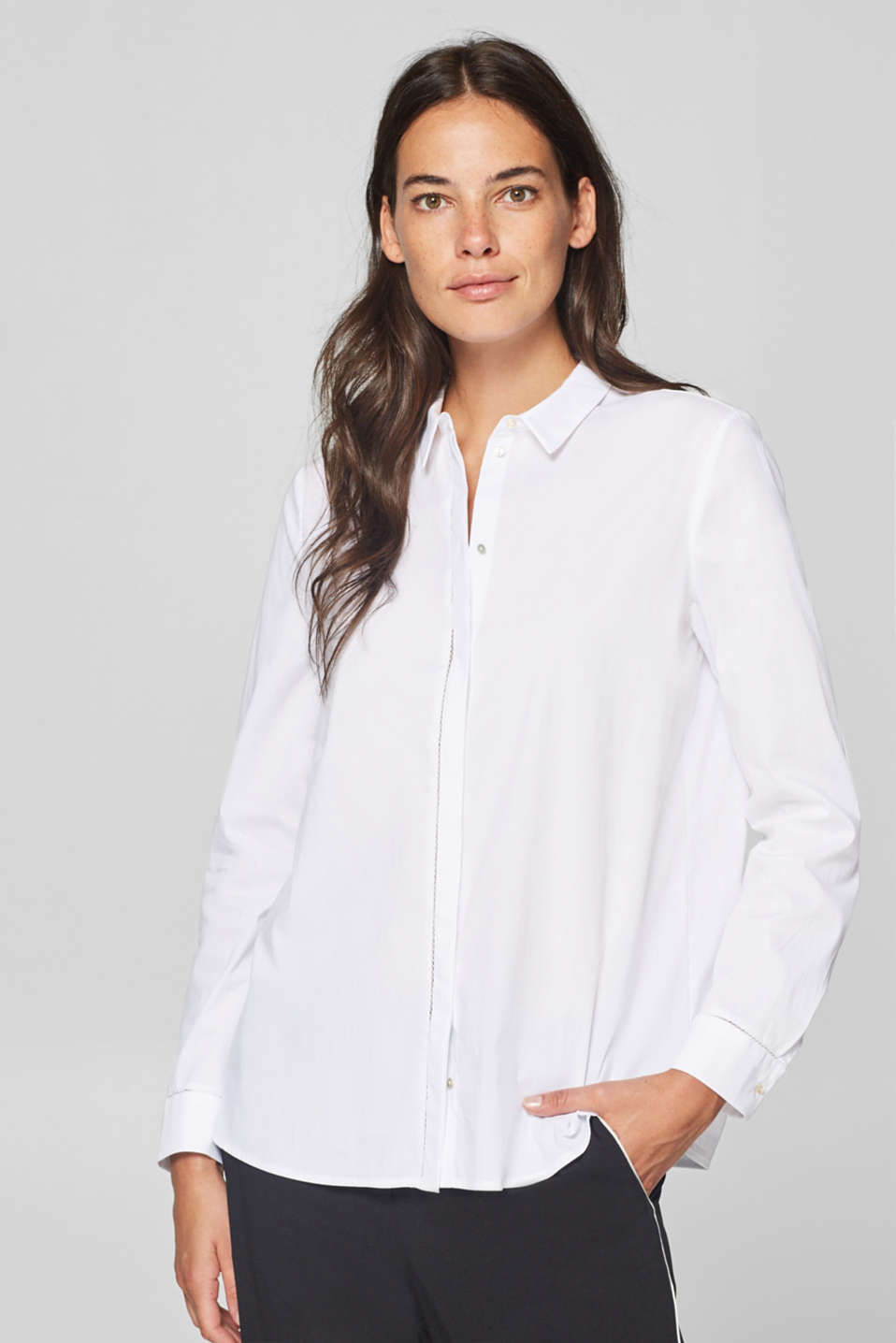 Esprit - Stretch blouse with lace trims