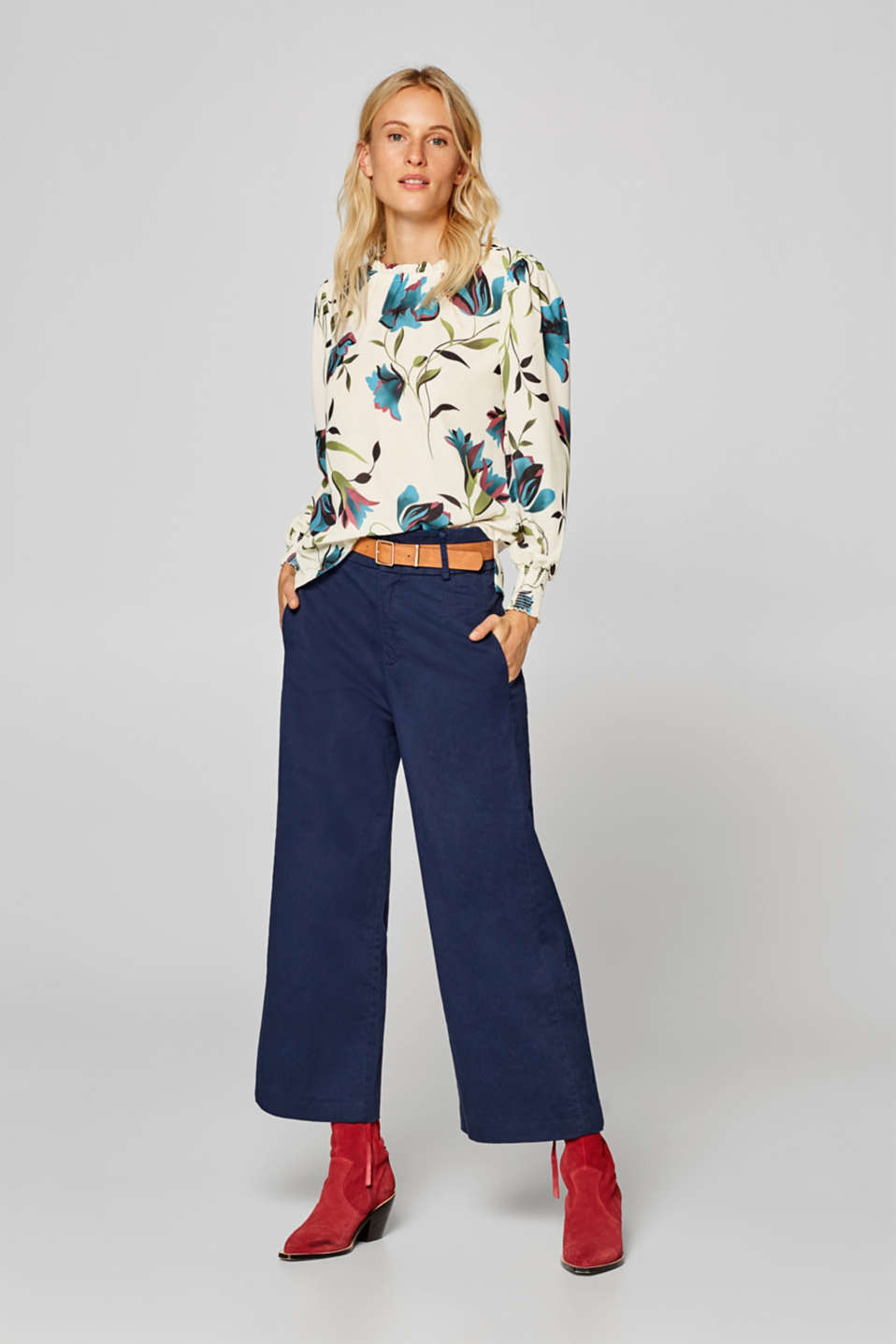 Esprit - Print blouse with balloon sleeves