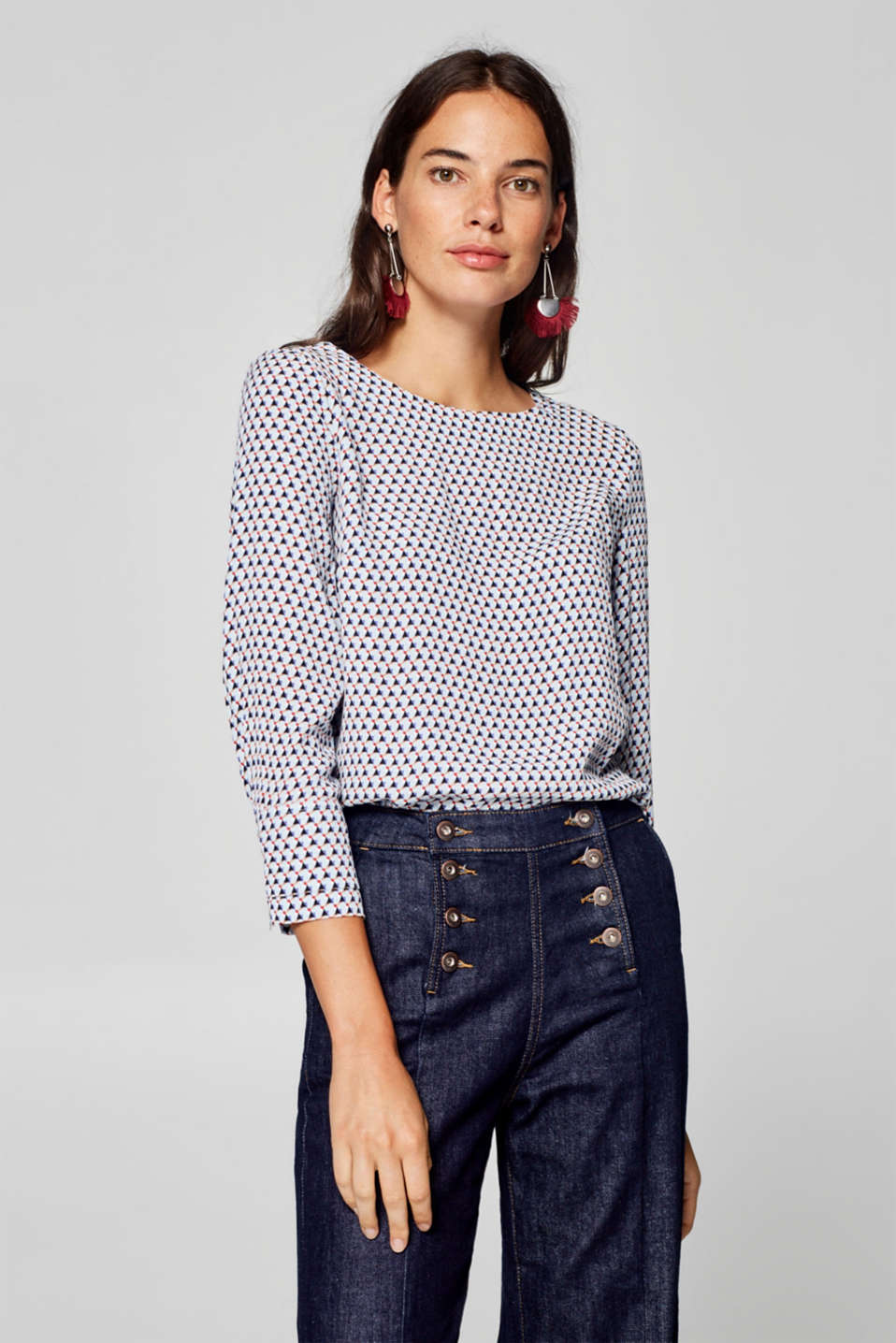 Esprit - Printed blouse with a button placket at the back