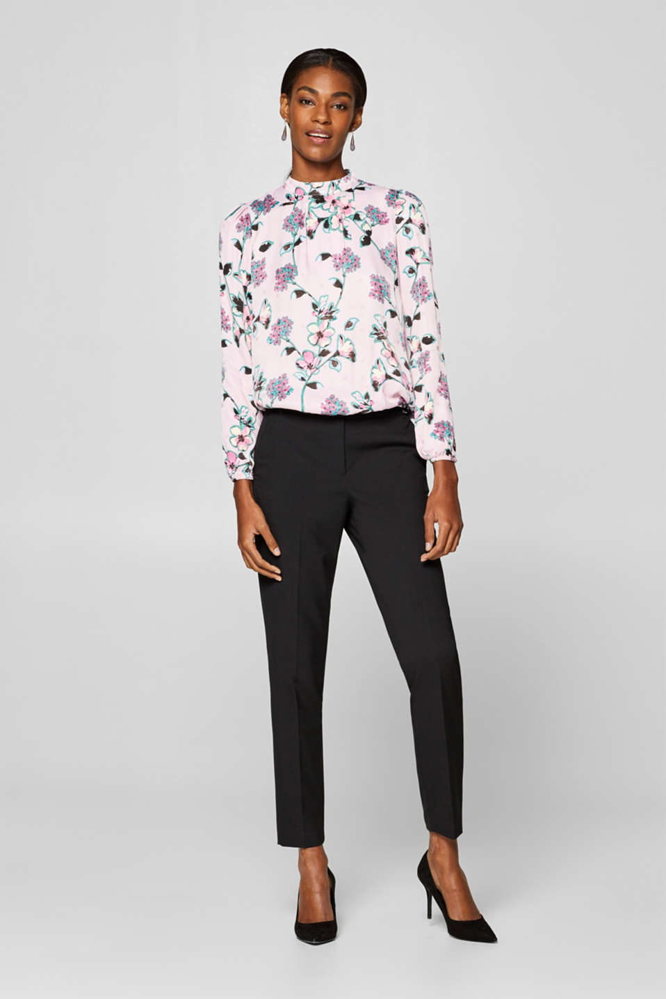 Esprit - Floral print blouse with a fine sheen