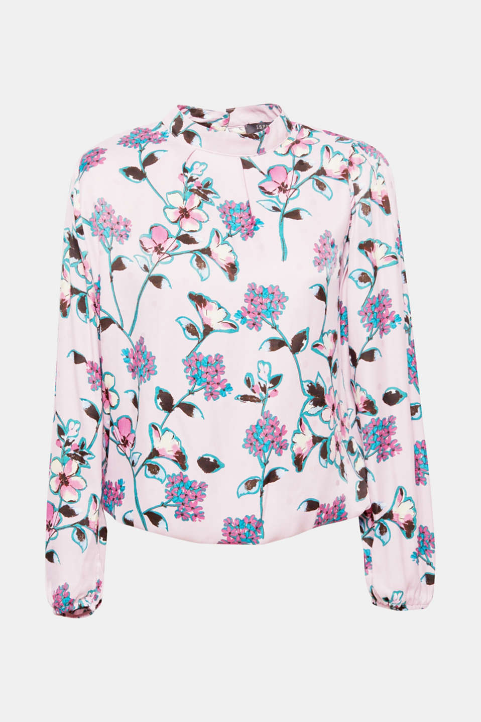 Thanks to the decorative floral prints, small band collar and loose sleeves with narrow elasticated cuffs, this blouse with a fine sheen looks elegant and feminine!