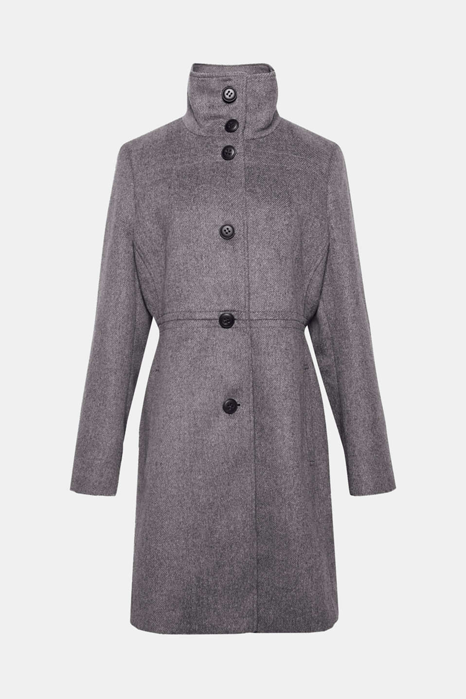 The softly draped, high stand-up collar accentuates the feminine style of this fitted coat in a high-quality wool blend!