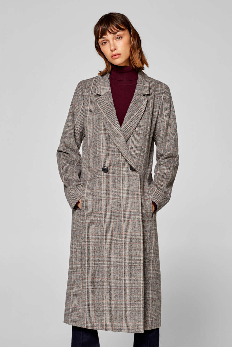 Esprit - Long coat in Prince of Wales check with wool