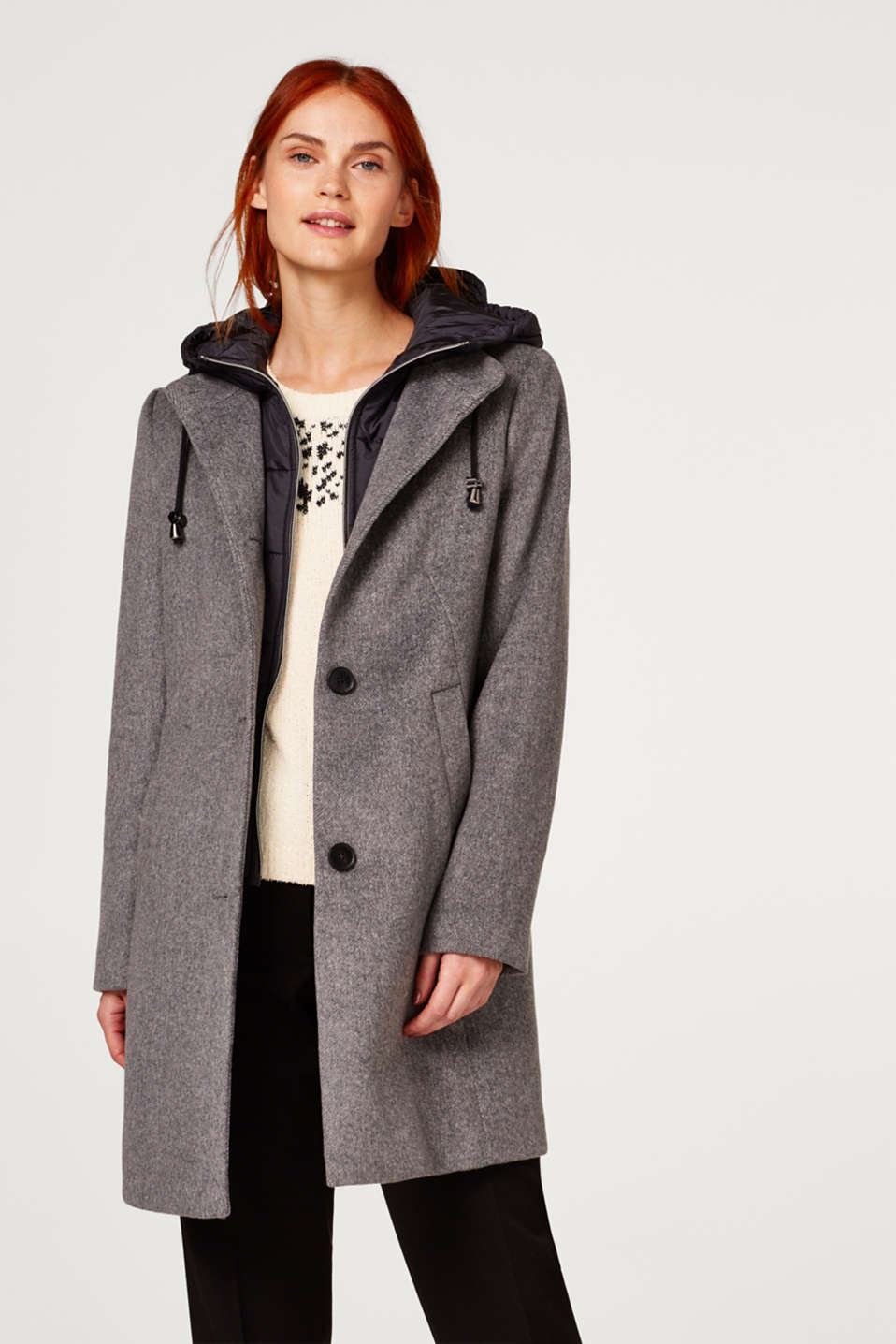 Esprit - Wool blend padded 2-in-1 coat