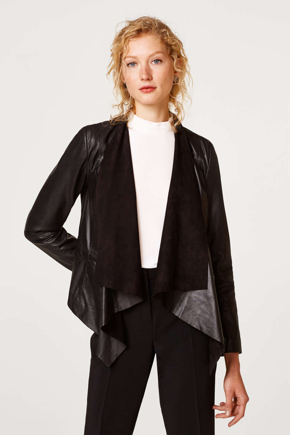 Esprit - Premium blazer with a shawl collar, 100% leather
