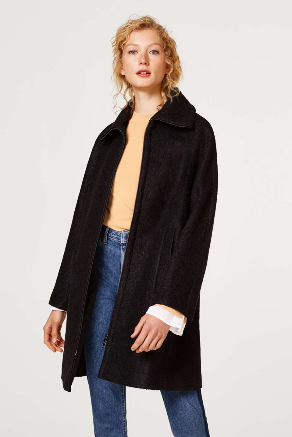 Esprit - Coat with textured wool