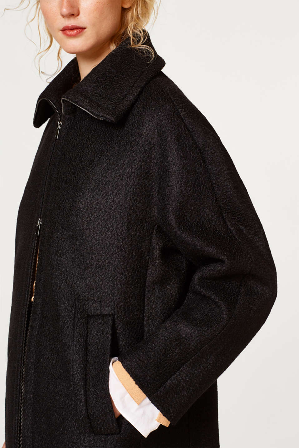 Coat with textured wool