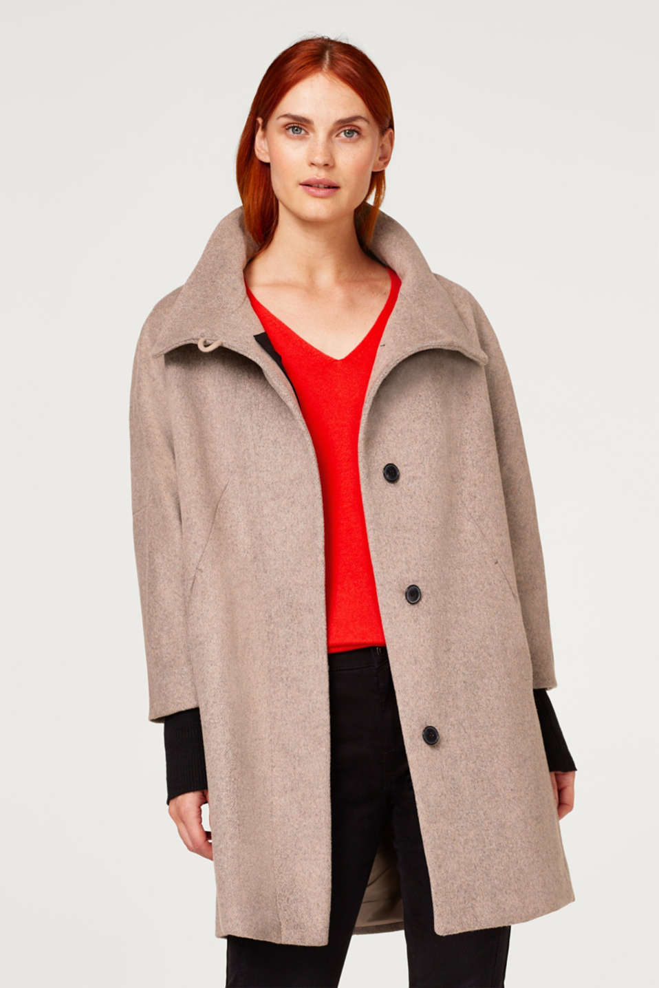 Esprit - Wool blend: oversized coat with knitted borders
