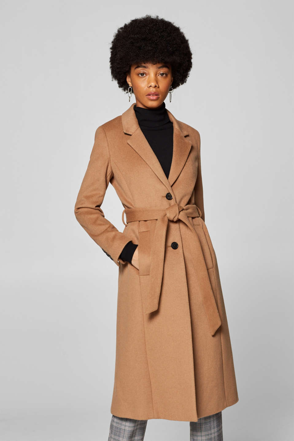 Esprit - With wool/cashmere: blazer coat with a belt