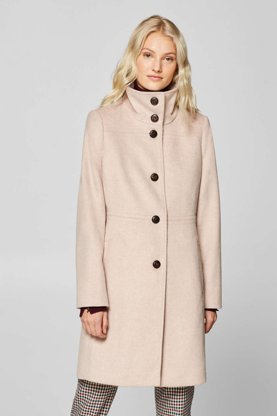 Esprit - Wool blend: coat with stand-up collar