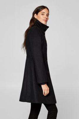 Esprit - Med ull  insvängd kappa med ståkrage i Esprits Online-Shop 302323ea9d544