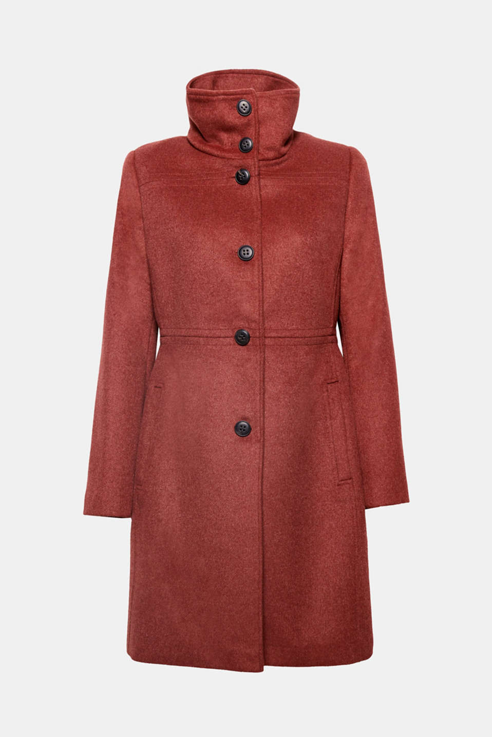 This fitted coat in a high-quality wool blend is a classic, elegant piece with an adjustable collar: depending on your outfit and the weather, you can turn it up or fold it down.