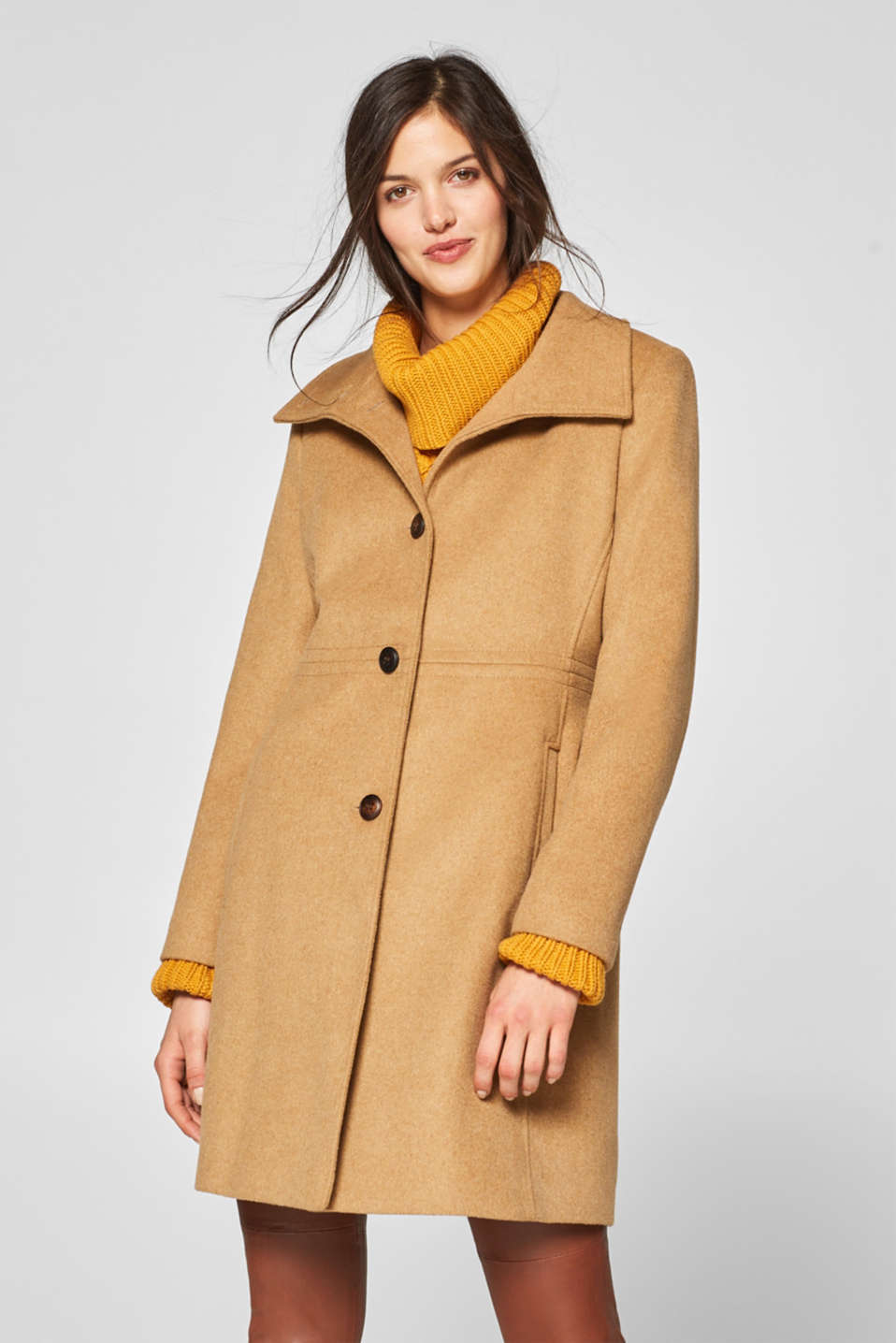 Esprit - Fitted coat with a stand-up collar containing wool