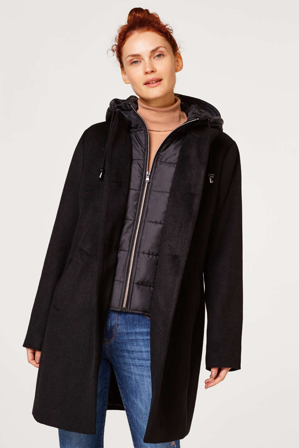 Esprit - 2-in-1 coat with a quilted hood